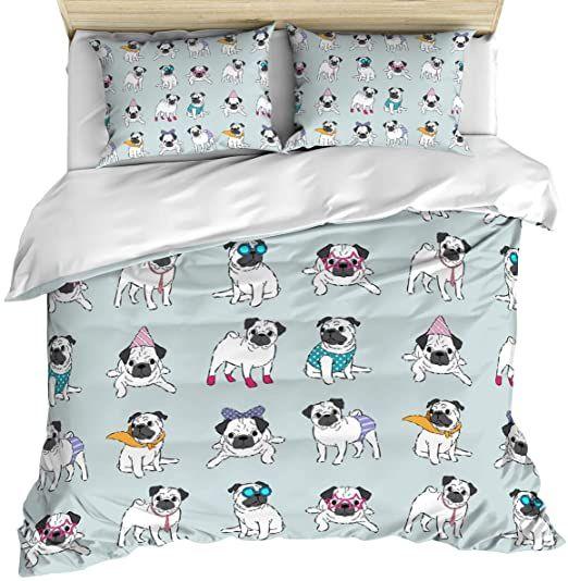 3 Piece Bedding Set Comforter/Quilt Cover Set Queen Size, Cute Cartoon Pug in Di...