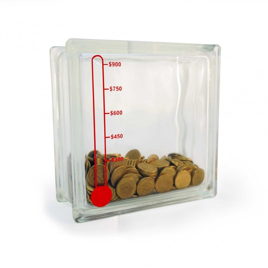 Glass Block Money Box Thermometer Piggy Bank Project