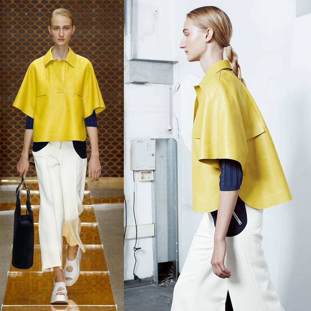 Walking an enlightened path. Sunshine leather over casual trousers with big bold curved pockets #sportmax #SS16 #outfit