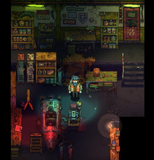 PIXEL ON YOU, PIXEL ON YOUR COW   pixpilgames: The Garage scene test. ( pixel art...