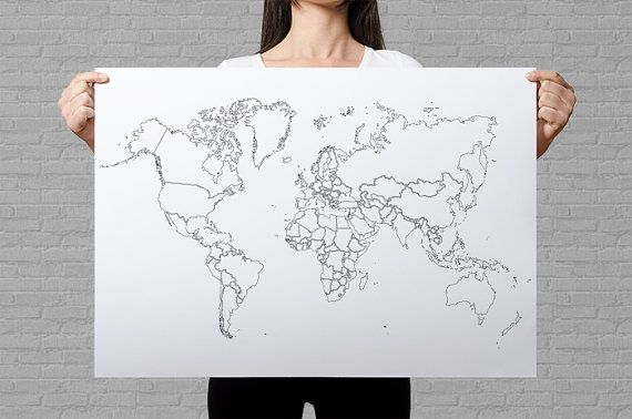 World Map Plain Outlines Poster Black And White Minimalistic
