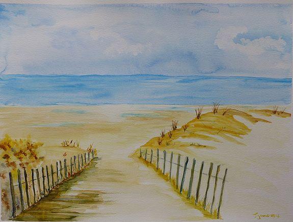 Sous Le Soleil Aquarelle Des Dunes De Noirmoutier Par Isabelle