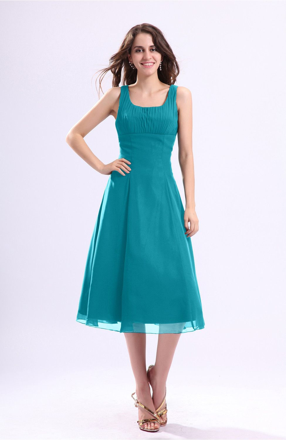 Teal Guest Dress - Simple A-line Square Sleeveless Zip up Wedding ...