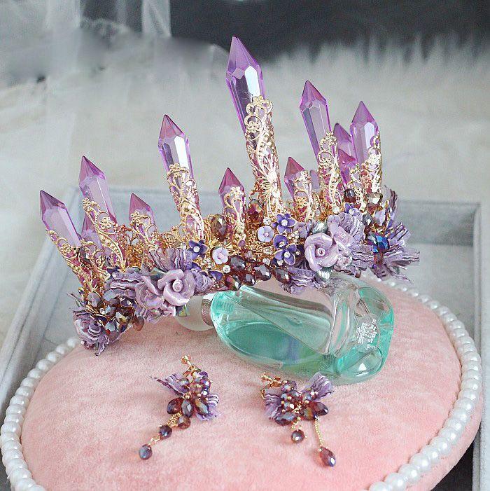 Luxury Bridal Purple Crown Earrings Suit Headband Handmade Wedding Hair Vine Tiara Accessories Women Headpiece