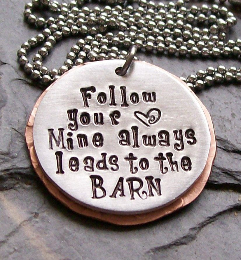 Handstamped Horse Cowgirl- Equestrian-Follow Your Heart Pendant Necklace-Mixed Metals. $28.00, via Etsy.