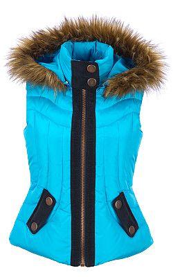 Black Rivet Puffy Vest w/ Removable Faux-Fur Hood