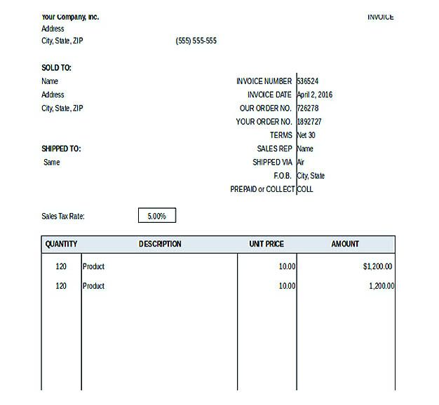 General Invoice Template  Free Invoice Template Download You Can