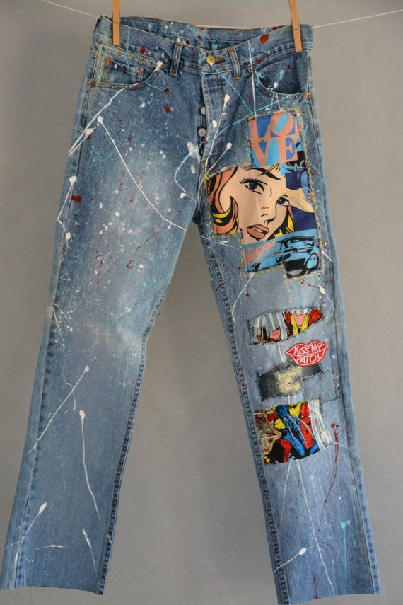 Ready To Send Size 26 27 28 29 30 30 31 32 34 Unique Vintage Jeans One Of A Kind Hand Made Embroidery A Ropa Alterada Pantalones Remendados Ropa De Bricolaje