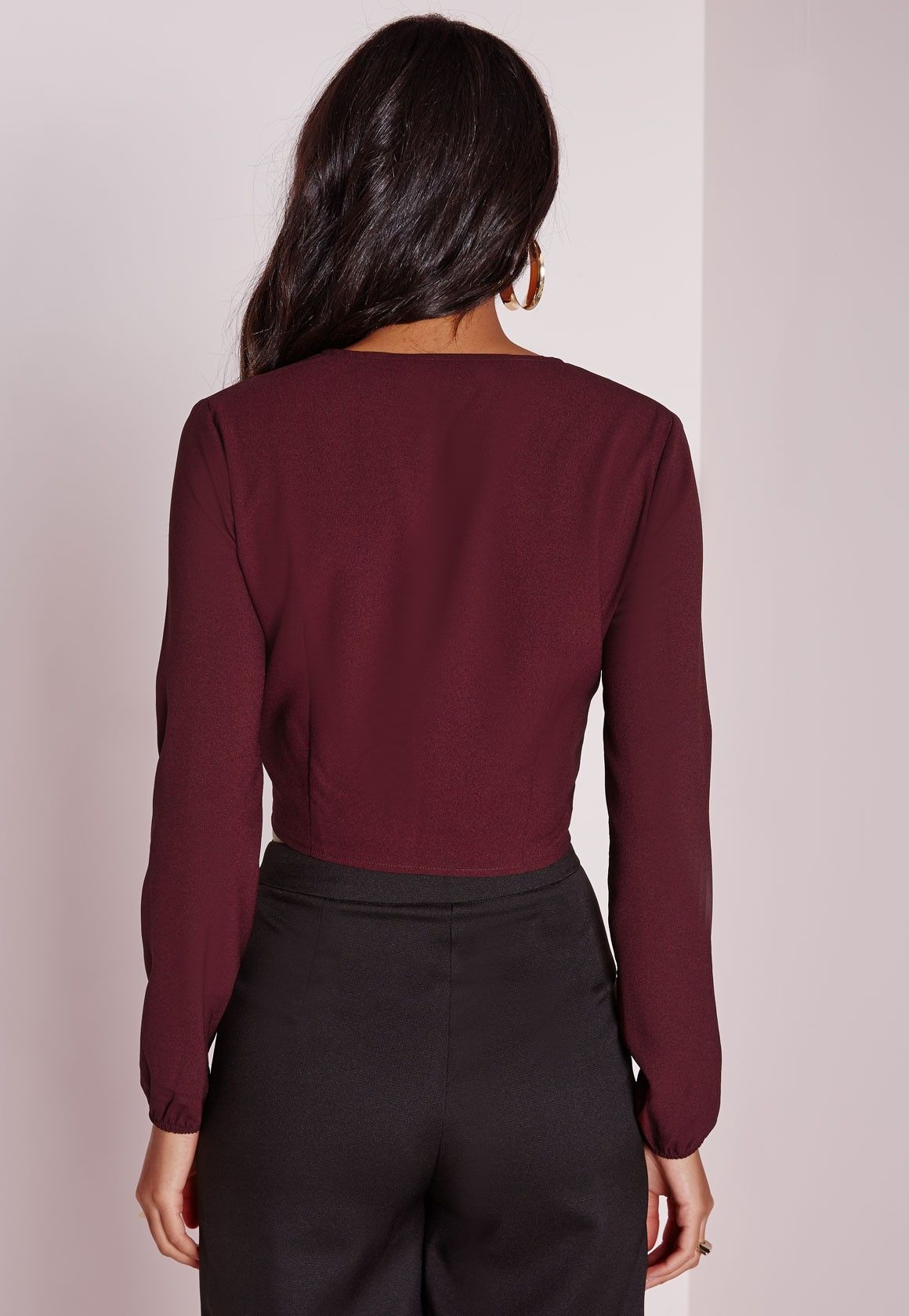 Missguided - Tie Front Cropped Blouse Burgundy