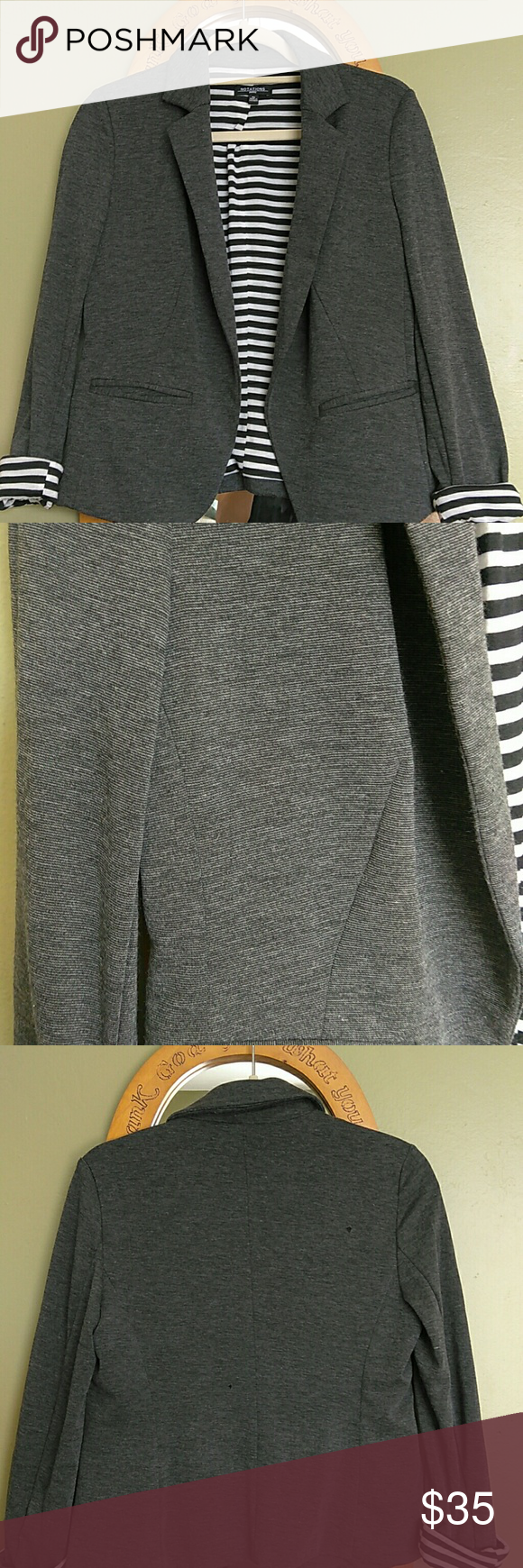 Gray blazer Soft knit blazer lined with black and white stripe. Notations Jackets & Coats Blazers