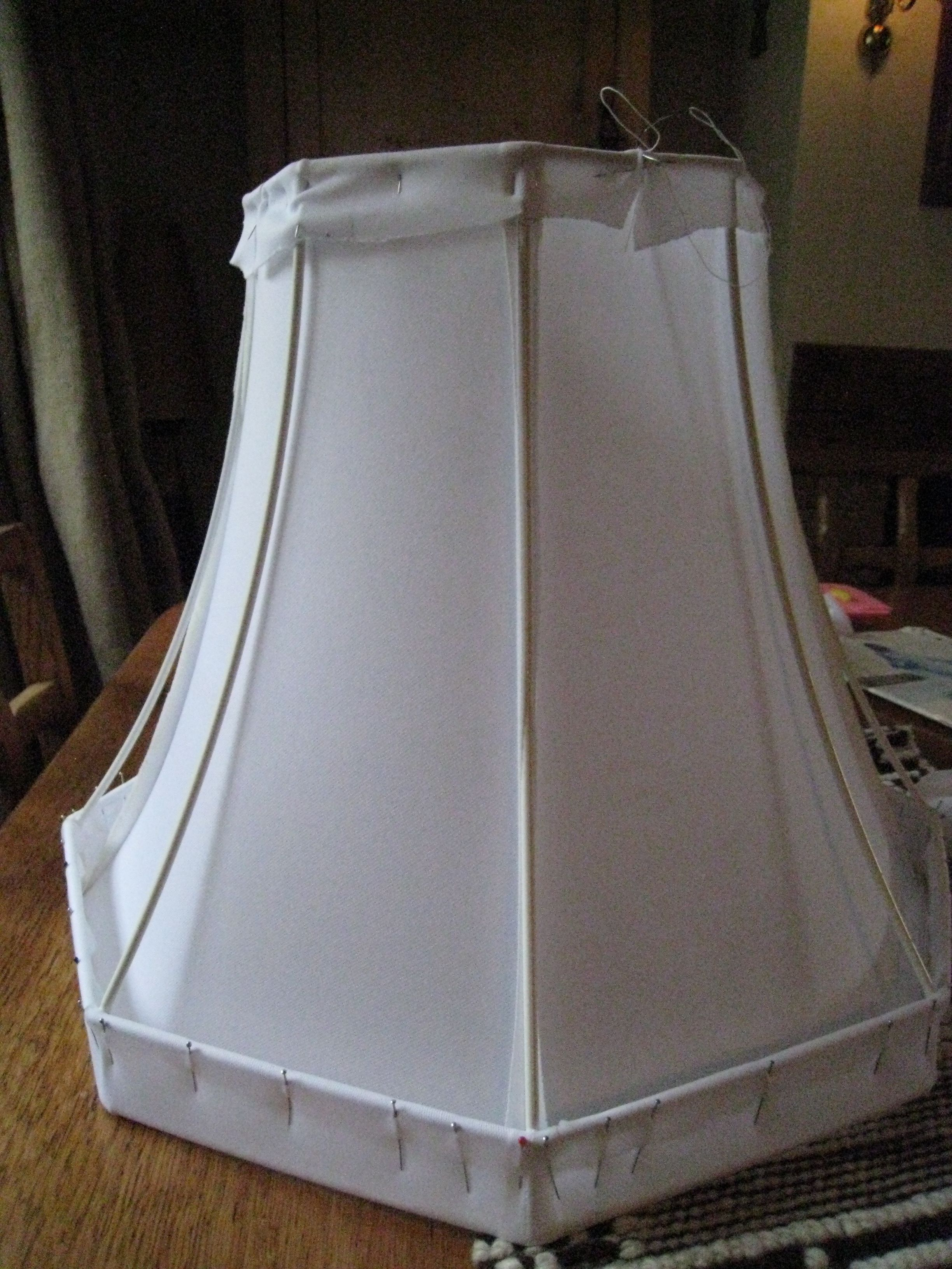 This octogonal lampshade had no lining before first thing to do was first thing to do was to create the lining i used special lampshade lining fabric in stretch cut out two pieces of fabric covering half greentooth Images