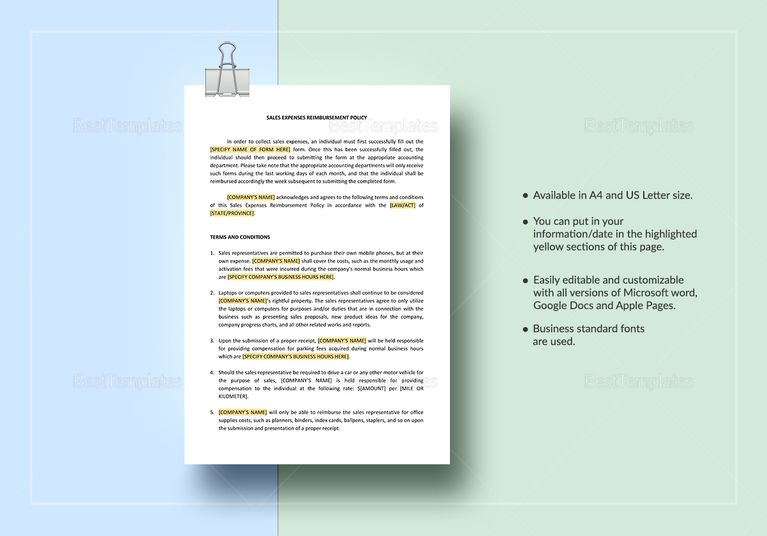 Sales Expenses Reimbursement Policy Template Document Design