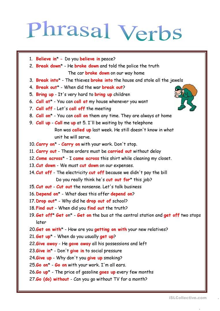 53 Phrasal verbs rules + exercises Verb worksheets