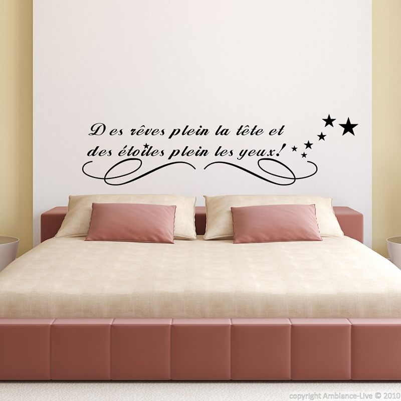 Stickers muraux citations sticker des r ves plein la for Stickers phrase chambre adulte