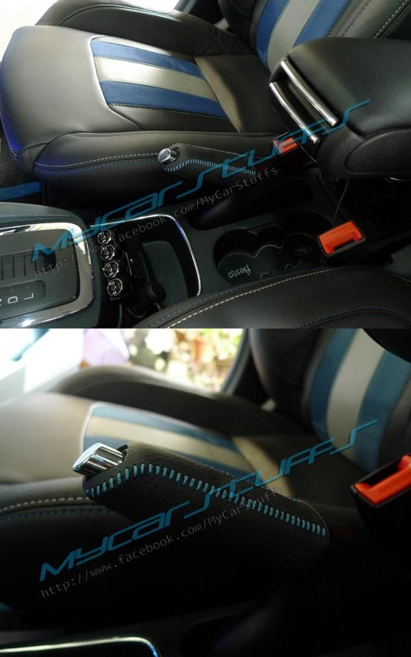 Leather Handbrake Cover With Blue Thread For Fiesta Also