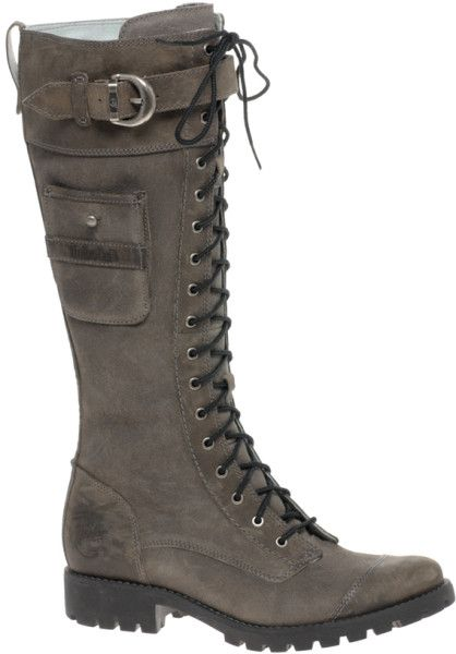 Timberland Atrus Rugged Snap Tall Lace Up Flat Boots in Gray (grey)