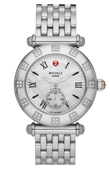 eba6afe36 Free shipping and returns on MICHELE 'Caber Atlas' Diamond Customizable  Watch at Nordstrom.com. A gleaming stainless steel bracelet customizes a ...