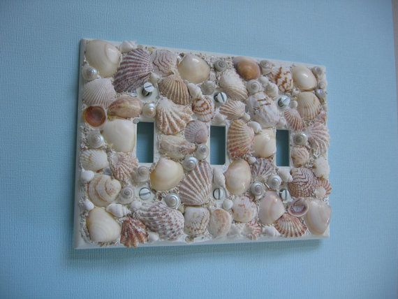 Seashell Light Switch Plate Cover Triple Light Switchplate Beach