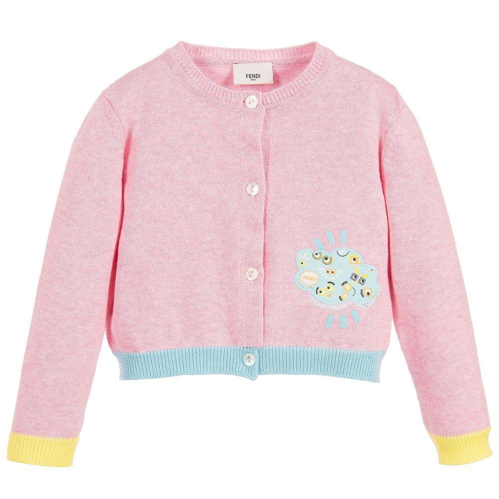 28bea24a7 Fendi Baby Girls Pink Knitted Cardigan at Childrensalon.com ...