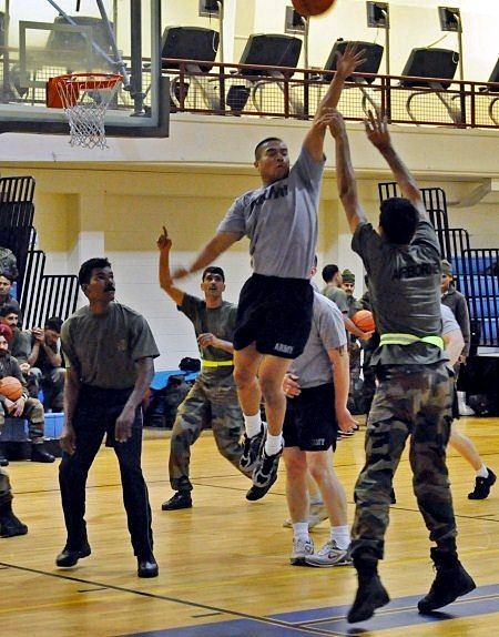 Soldiers from US Army Alaska and the Indian Army teamed up to play basketball and dodge ball. Photo: Specialist Ashley M. Armstrong
