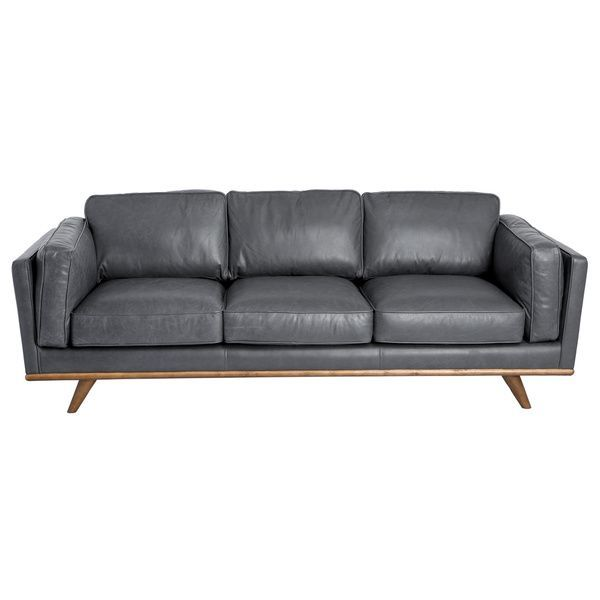 Cool Astoria Grey Oxford Leather Sofa Overstock Com Shopping