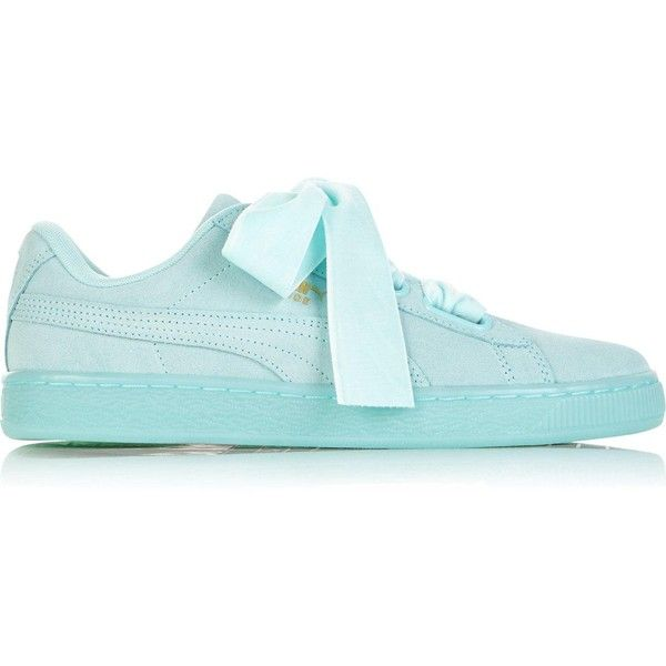 f2f67eae72 Puma Suede Heart Reset Women'S Trainers ($85) ❤ liked on Polyvore featuring  shoes, sneakers, light blue, suede leather shoes, lacing sneakers, light  blue ...