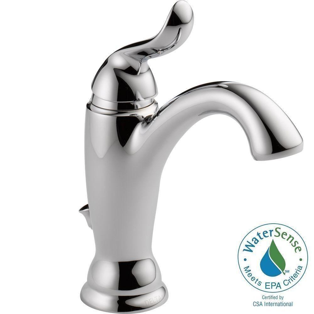 Delta Linden Single Hole Singlehandle Bathroom Faucet In Chrome Glamorous Delta Single Hole Bathroom Faucet Inspiration