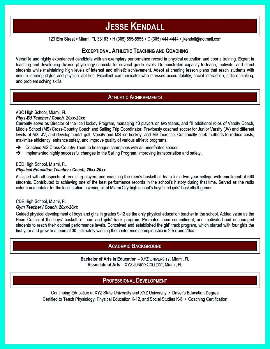 Nice Making Simple College Golf Resume With Basic But Effective Information Teacher Resume Physical Education Teacher Elementary Teacher Resume