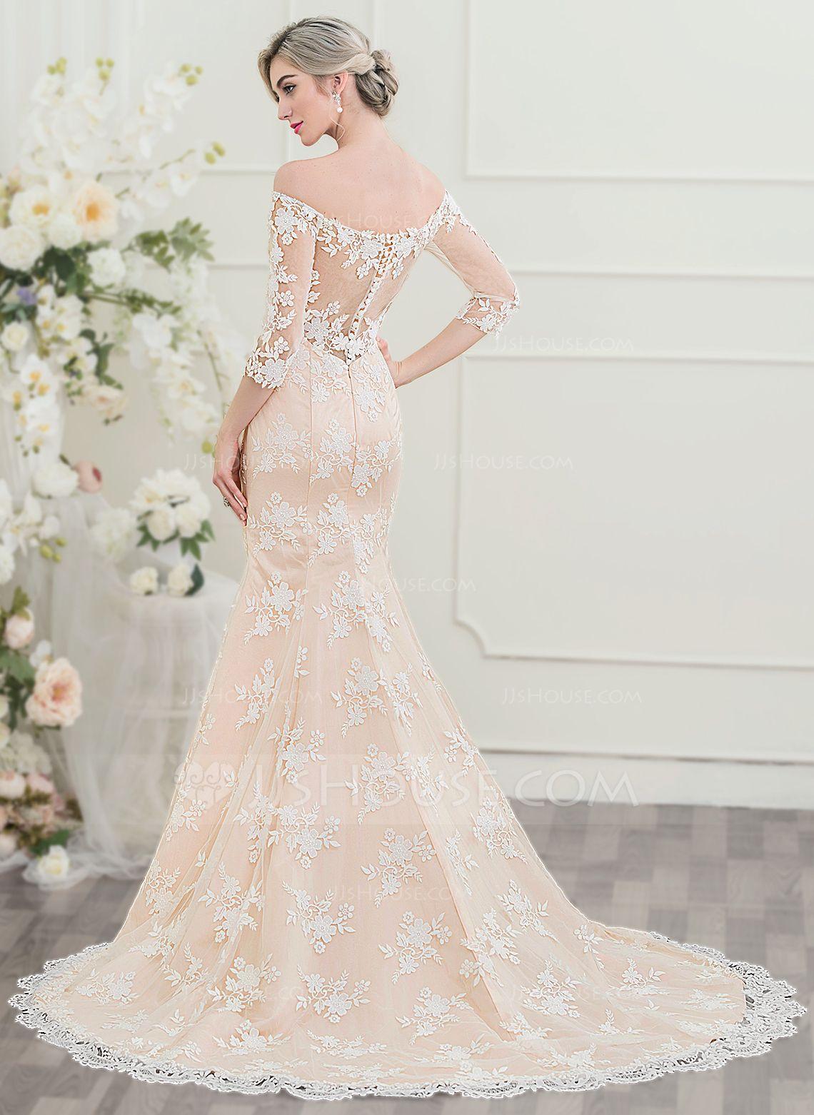 Us 312 00 Trumpet Mermaid Off The Shoulder Court Train Lace Wedding Dress Jj S House Wedding Dresses Wedding Dresses Lace Wedding Gowns Lace [ 1562 x 1140 Pixel ]