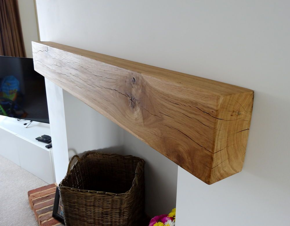 Details about Air Dried Oak Beam Fireplace / Mantle Piece Floating ...