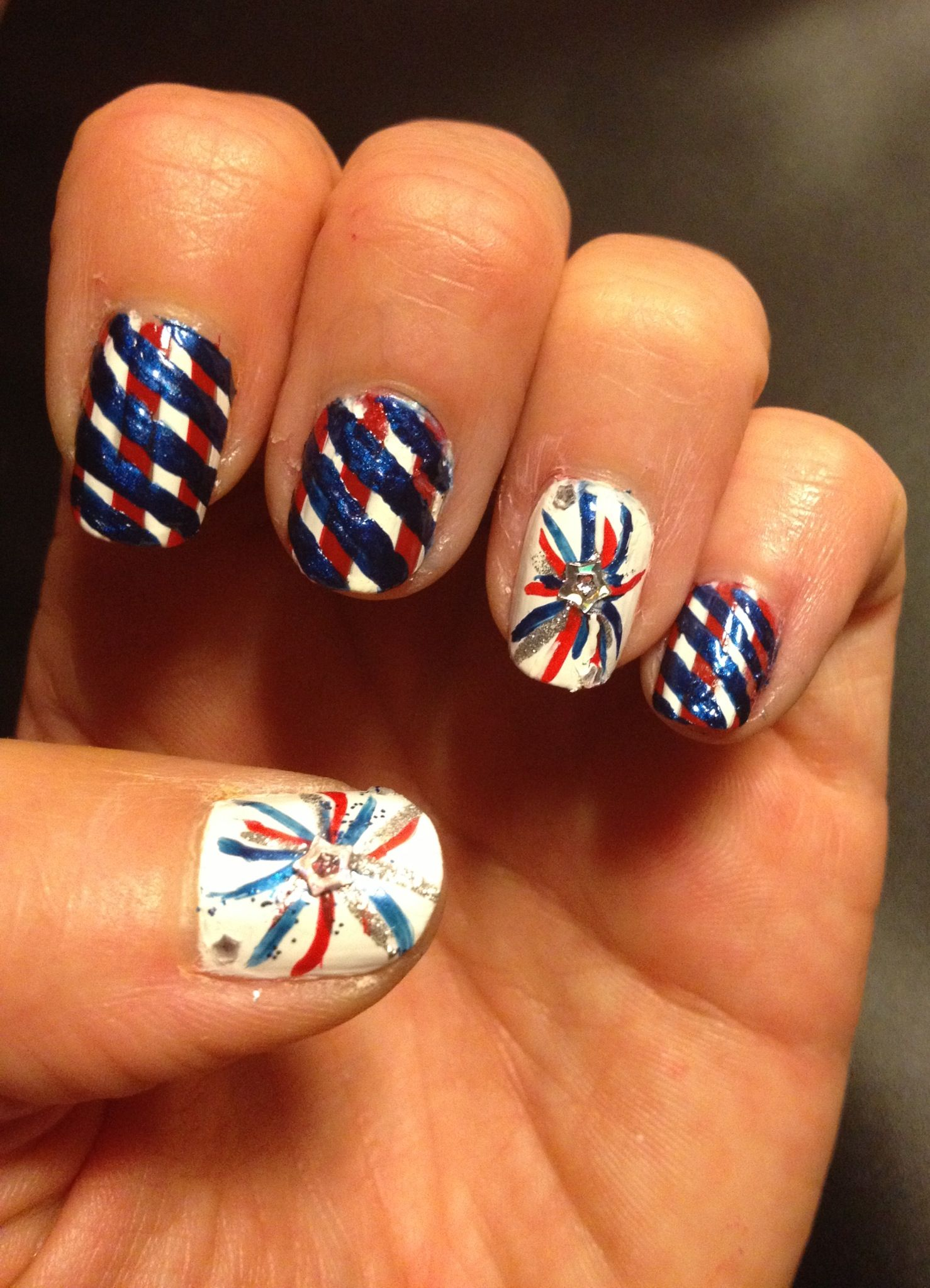 4th of July nail design. Nail art. Firework nail art design. Red ...