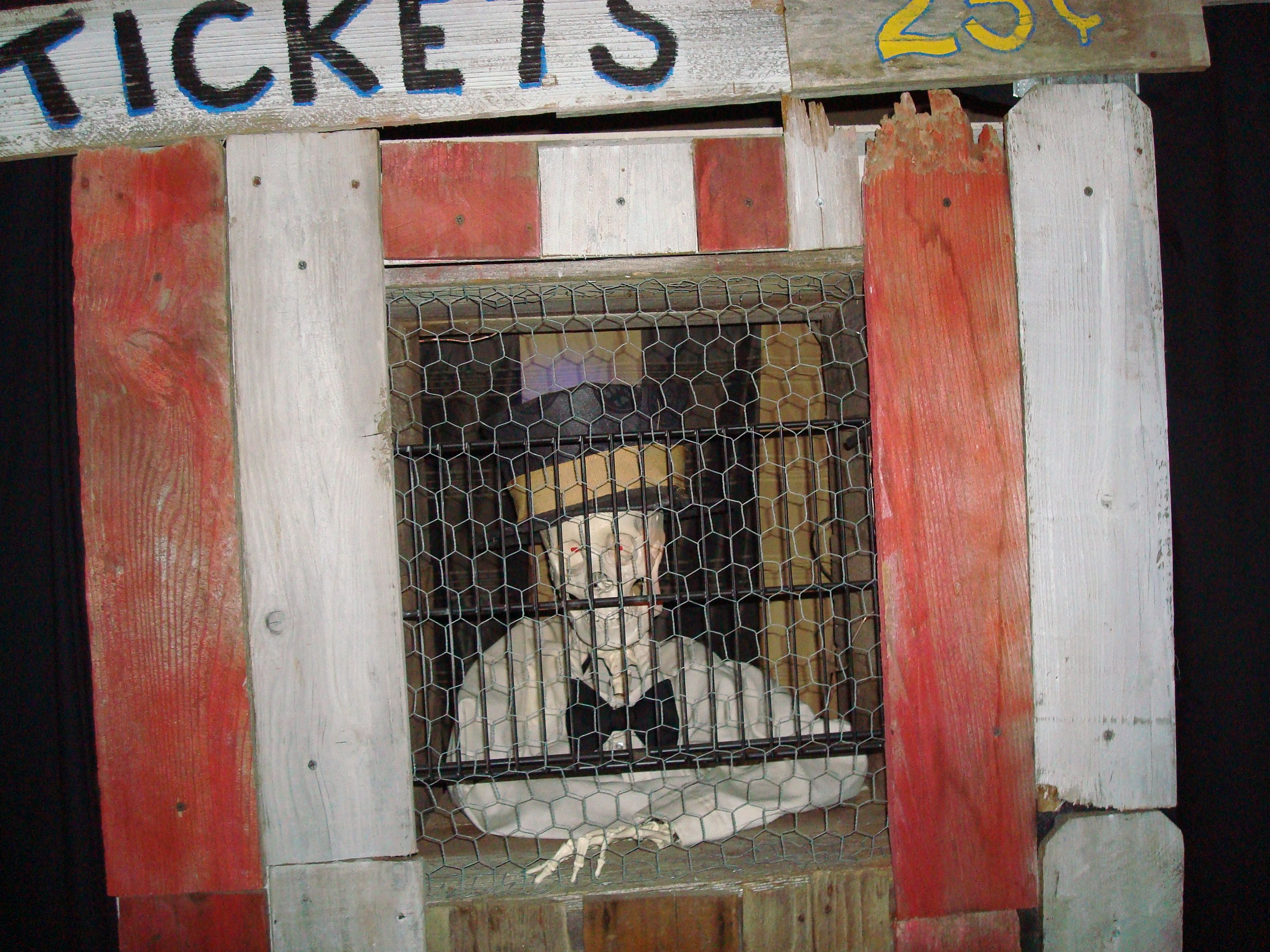 "#Halloween - #Ticket booth - complete with talking skull head, hat, shirt and bow tie. Turned his head and said. ""Step right up and get your ticket a show to die for"" #Halloween ideas"