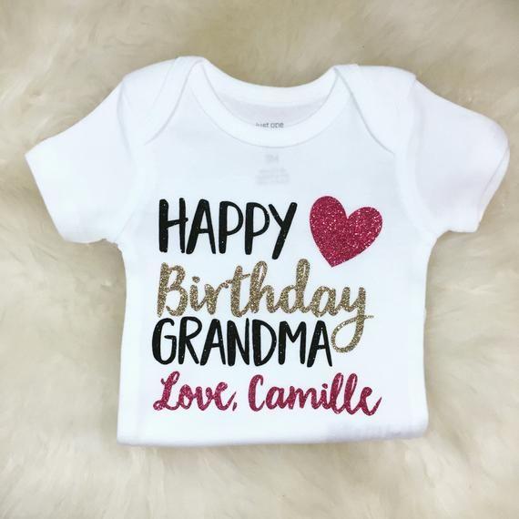 Happy Birthday Grandma Shirt Grandpa Baby Shower Gift Mama Coming Home Ou