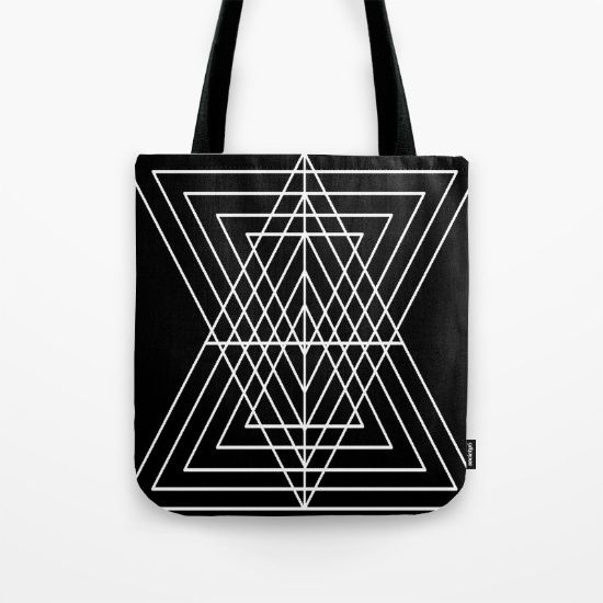 Overlapping Triangles ( Black & White) Tote Bag by Penny's Art & Designs