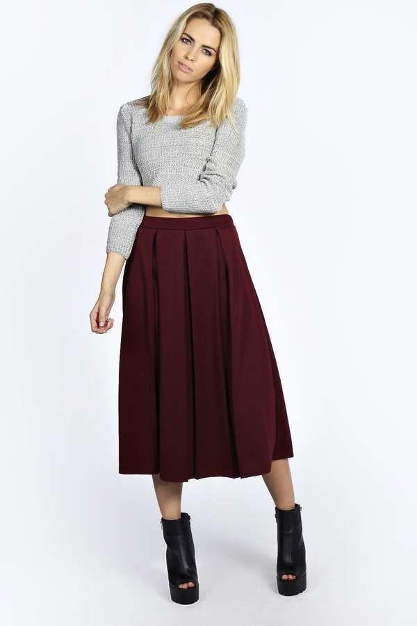 Beau Box Pleat Midi Length Skater Skirt | Burgundy skirt ...