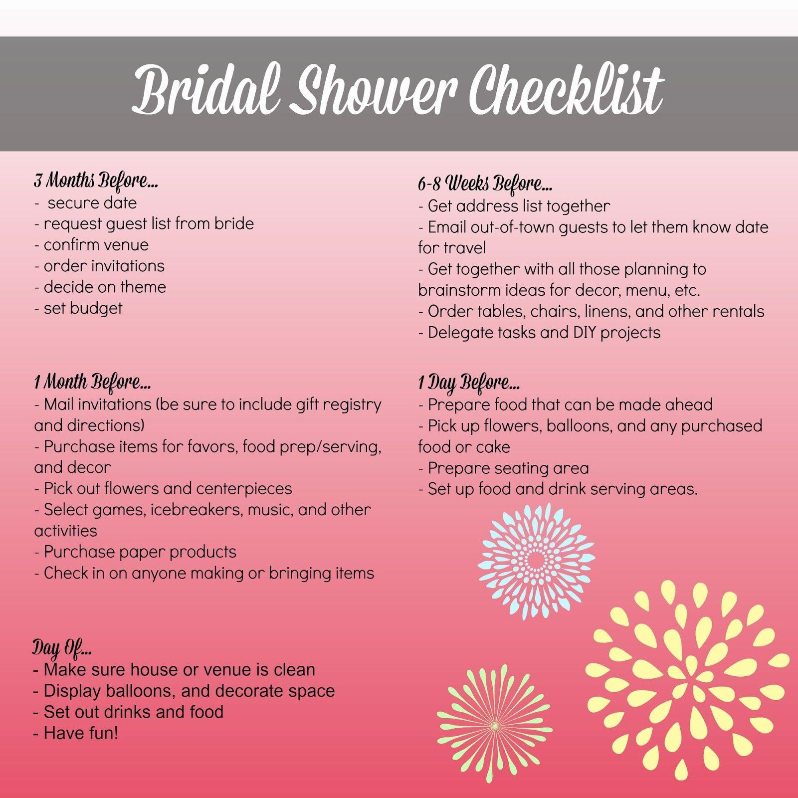 Bridal Shower Planning Checklist Bridal Shower