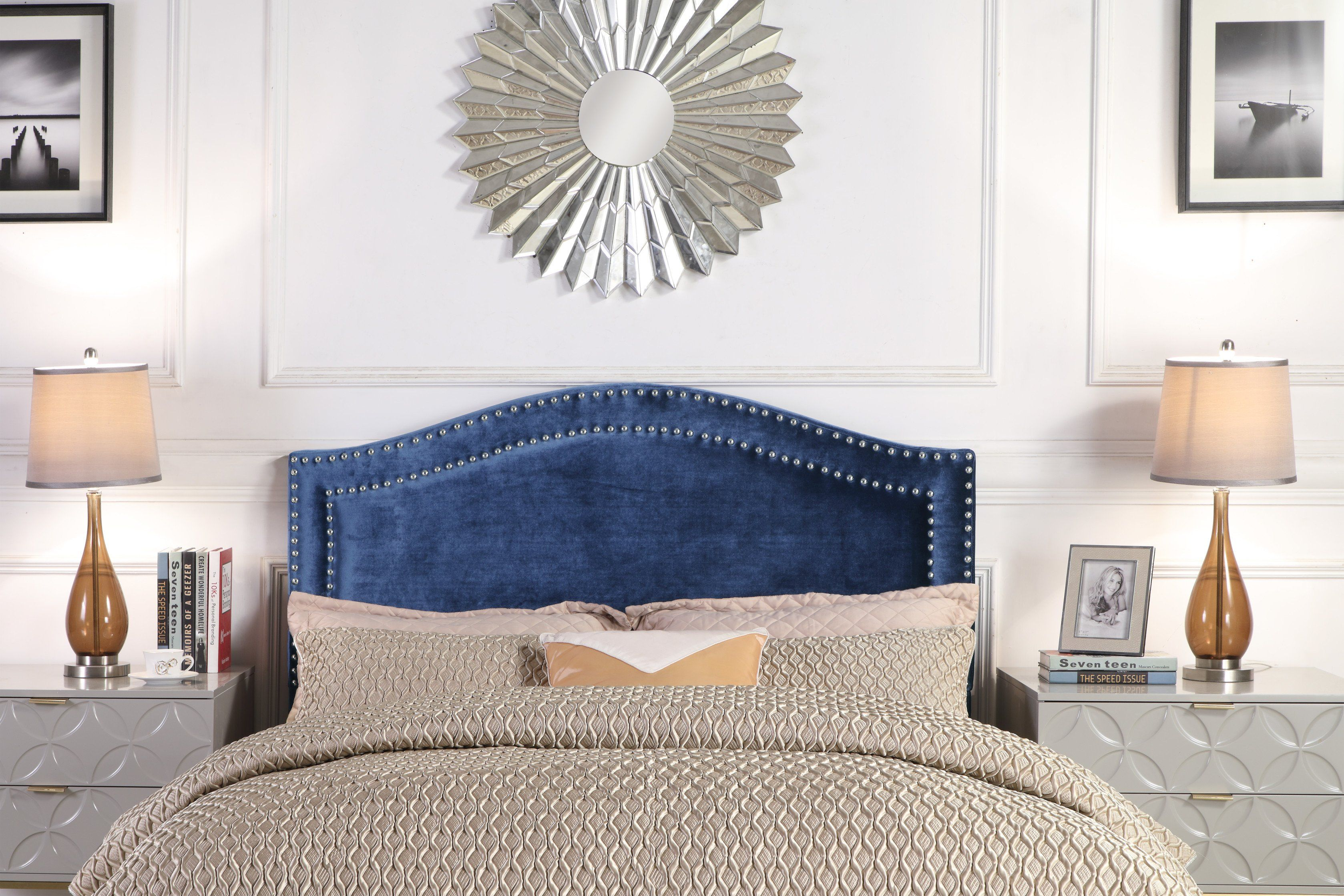 Iconic home tal headboard velvet upholstered double row nailhead
