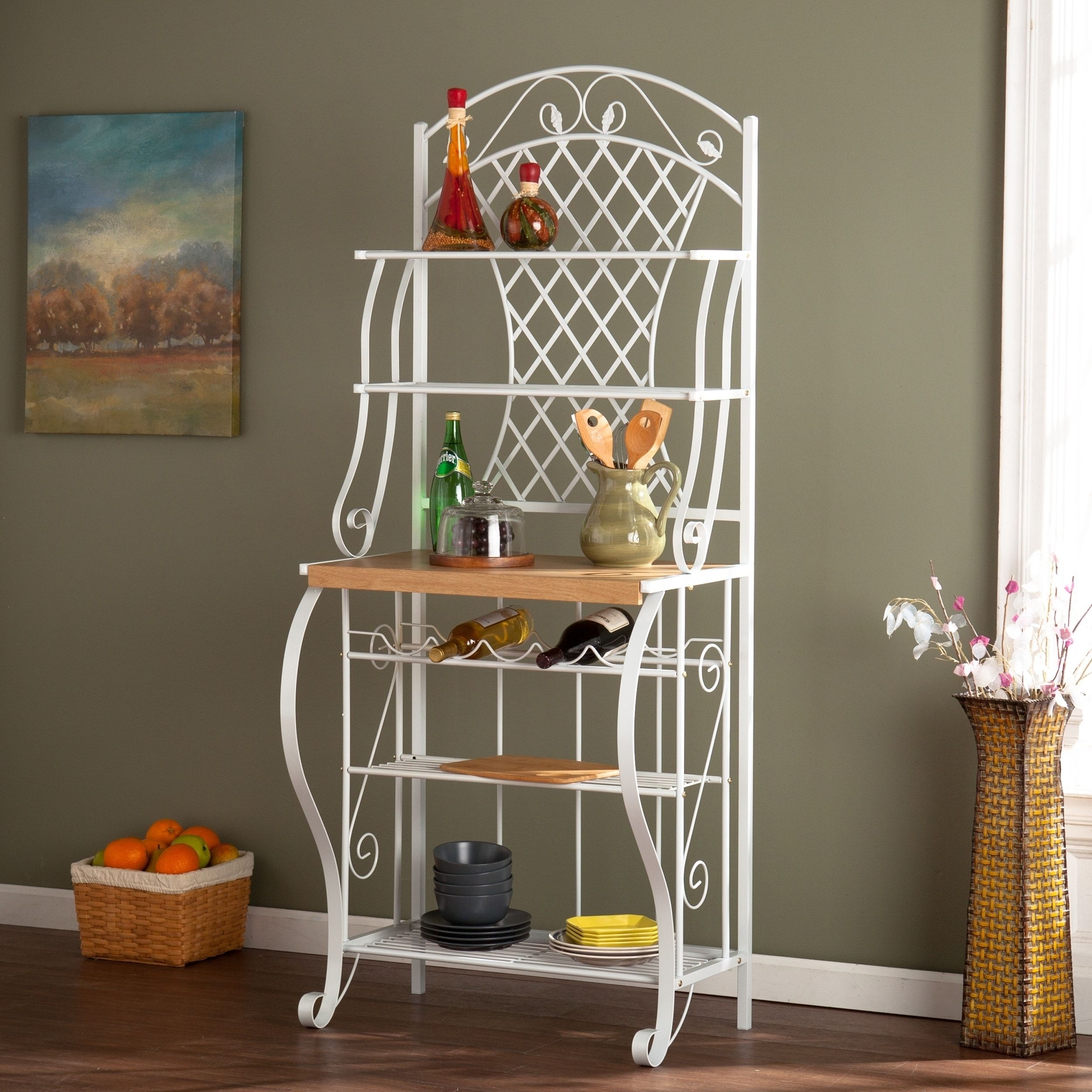 Copper Grove Docherty White Metal Trellis Baker S Rack Wood