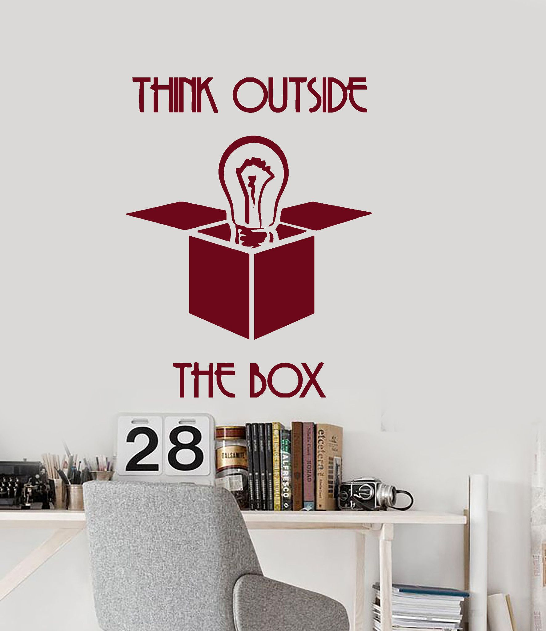 office wall hangings. Wall Vinyl Decal Quotes Think Outside The Box Office Decor Unique Gift Z3956 Hangings