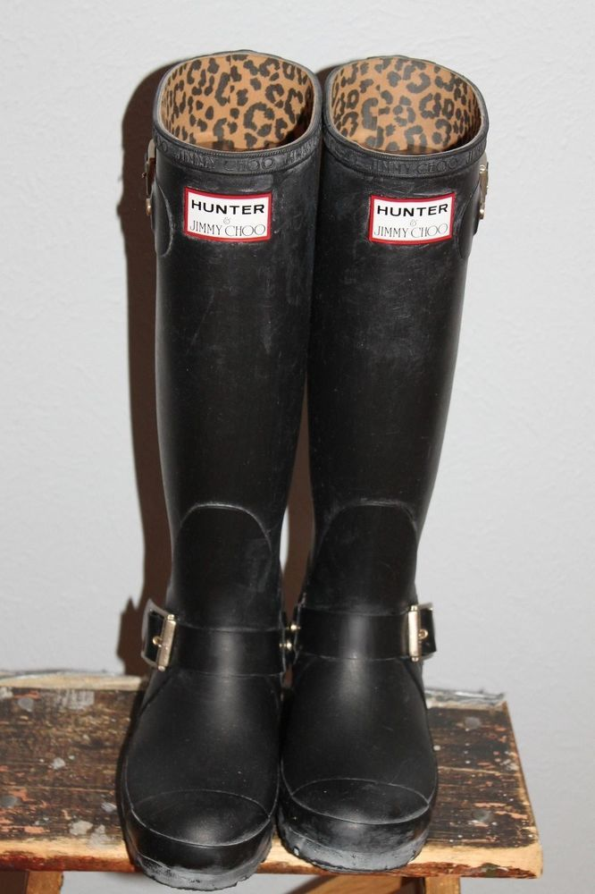 7529ca30d8e8 Women s pre-owned Black Rubber Hunter   Jimmy Choo wellies   rain boots  size 7  Hunter  Rainboots