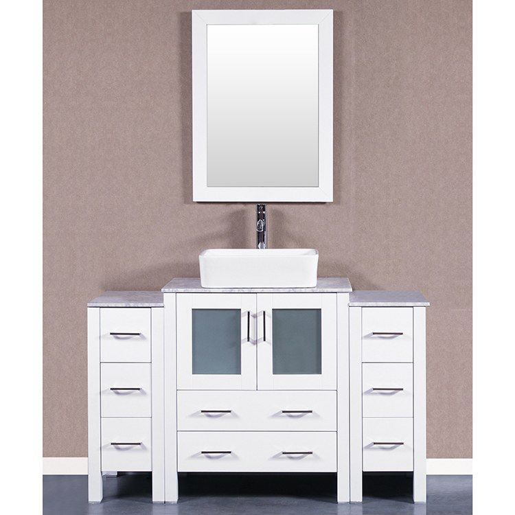 Bosconi Aw130rccm2s 54 Single Bathroom Vanity Set With Carrara