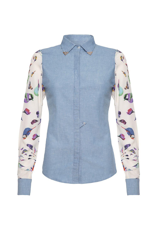 Denim-print chambray shirt with bird print detail    Available at www.wondaland.co.uk