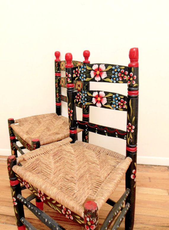 Mexican Folk Art Chairs Hand Painted Floral Impossibly