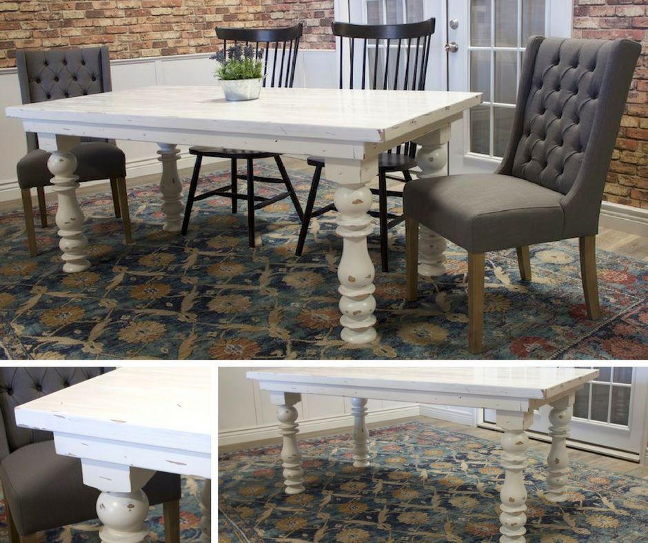 Distressed White Paint Finishes Your Dining Room Table With
