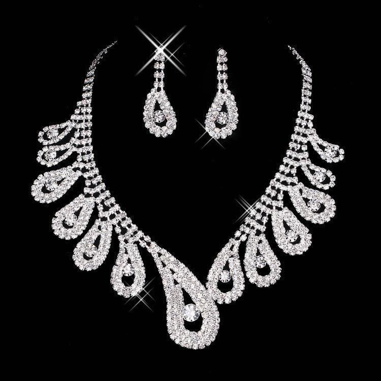 2016 Cheap Bling Crystal Bridal Jewelry Set silver plated necklace