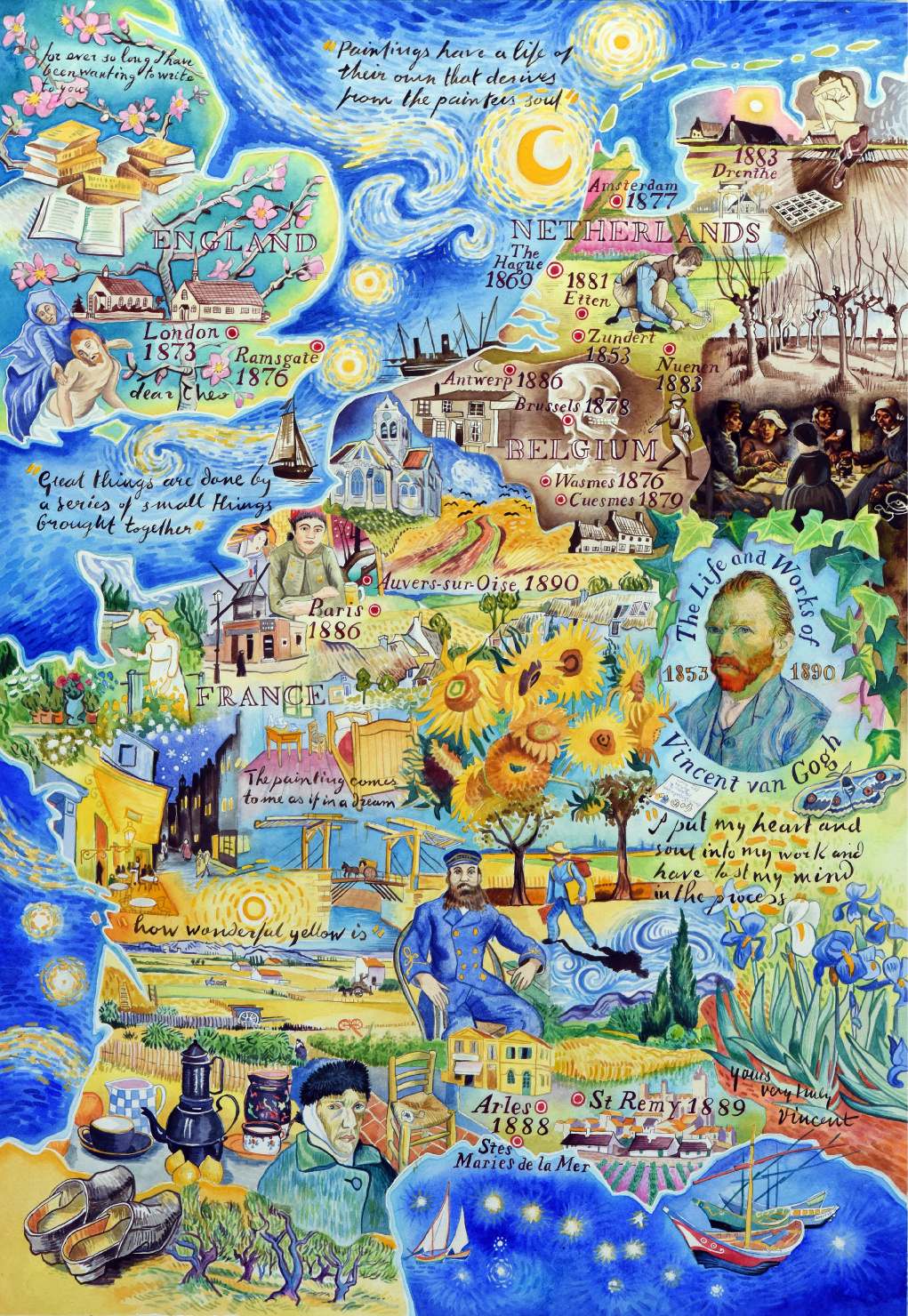 Map The Life And Works Of Vincent Van Gogh By Jane Tomlinson Van Gogh Wallpaper Map Painting Vincent Van Gogh