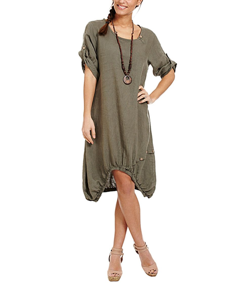 Another great find on #zulily! Couleur Lin Khaki Linen Bubble Dress ...