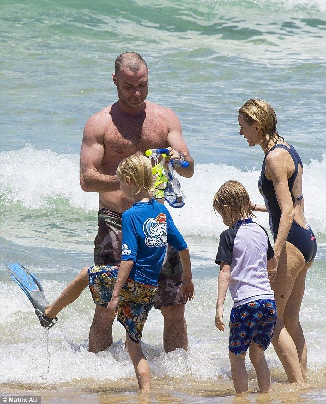 Family outing: Naomi Watts, Live Schrieber and their sons Alexander 'Sasha' Pete and Samue...