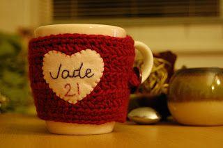 With Nancy...  Crochet mug warmer.