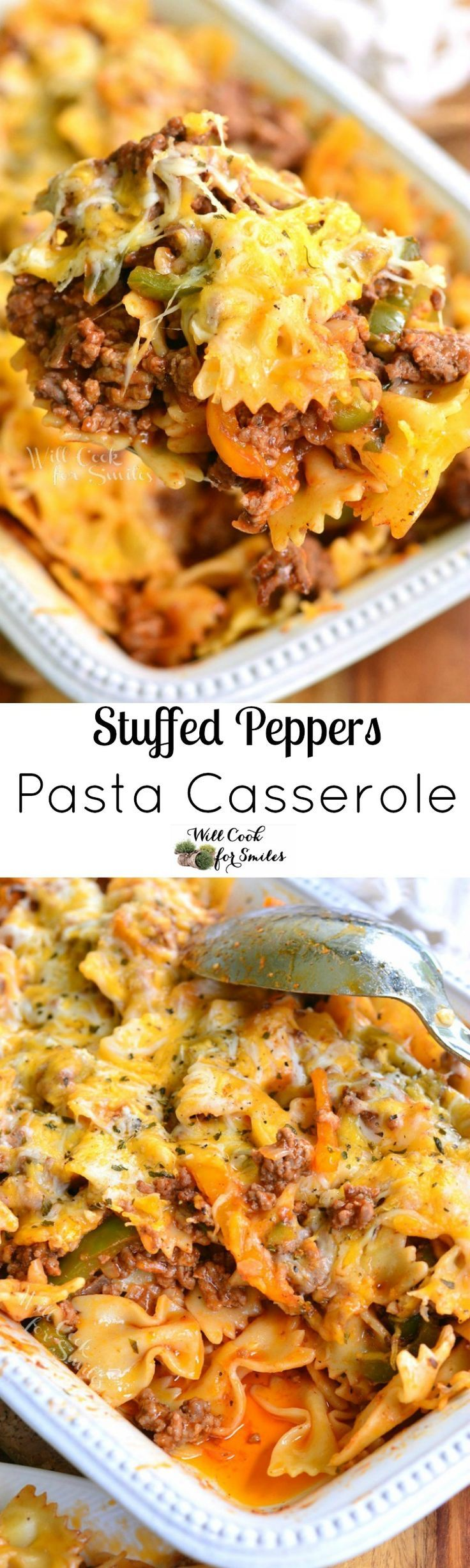 Stuffed Peppers Pasta Casserole. Inspired by the classic stuffed bell peppers dish, this comforting pasta casserole holds all those flavors inside. No need to choose, you can have two great dishes in one.